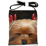 Sleeping Yorkie Painting Scan 300dpi Retouched Copy Shoulder Sling Bag