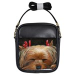 Sleeping Yorkie Painting Scan 300dpi Retouched Copy Girls Sling Bag
