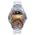 Sleeping Yorkie Painting Scan 300dpi Retouched Copy Stainless Steel Analogue Men's Watch