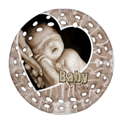 Baby Mine Cute As A Button Double Side Filigree Ornament By Catvinnat   Round Filigree Ornament (two Sides)   Uifwrgf5zy0a   Www Artscow Com Front