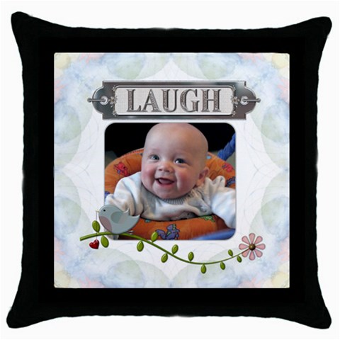 Laugh Throw Pillow Case By Lil    Throw Pillow Case (black)   B7w2amww5hjg   Www Artscow Com Front