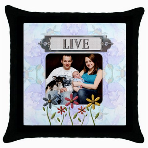 Live Throw Pillow Case By Lil    Throw Pillow Case (black)   Oesap70mlwsj   Www Artscow Com Front