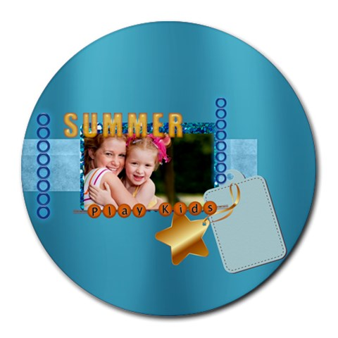 Summer By Joely   Round Mousepad   T0cdc86v8zww   Www Artscow Com Front