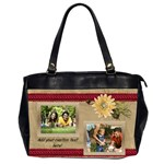 Cream Daisy Photo Collage Bag - Oversize Office Handbag (Two Sides)