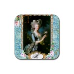 Marie Antoinette Pink Roses And Blue 6 By 8 Copy Rubber Square Coaster (4 pack)
