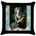 Marie Antoinette Pink Roses And Blue 6 By 8 Copy Throw Pillow Case (Black)