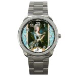 Marie Antoinette Pink Roses And Blue 6 By 8 Copy Sport Metal Watch