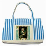 Marie Antoinette Pink Roses And Blue 6 By 8 Copy Striped Blue Tote Bag