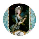 Marie Antoinette Pink Roses And Blue 6 By 8 Copy Round Ornament (Two Sides)