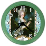 Marie Antoinette Pink Roses And Blue 6 By 8 Copy Color Wall Clock