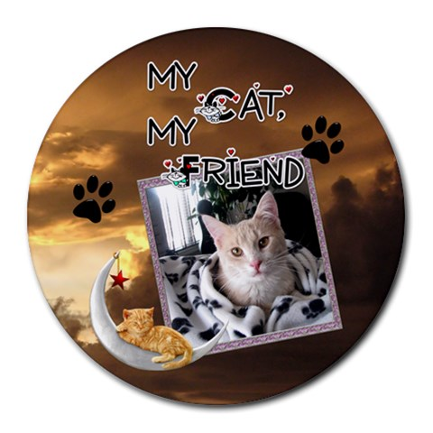 My Cat, My Friend Round Mousepad By Lil    Round Mousepad   Vemtz9gky43l   Www Artscow Com Front