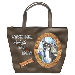 Love Me, Love My Dog Bucket Bag By Lil    Bucket Bag   O1077zi2yuon   Www Artscow Com Front