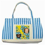 My Little Blue flower tote - Striped Blue Tote Bag