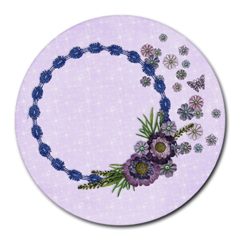 Purple Floral/heal Round Mousepad By Mikki   Round Mousepad   U0g269n93ojy   Www Artscow Com Front