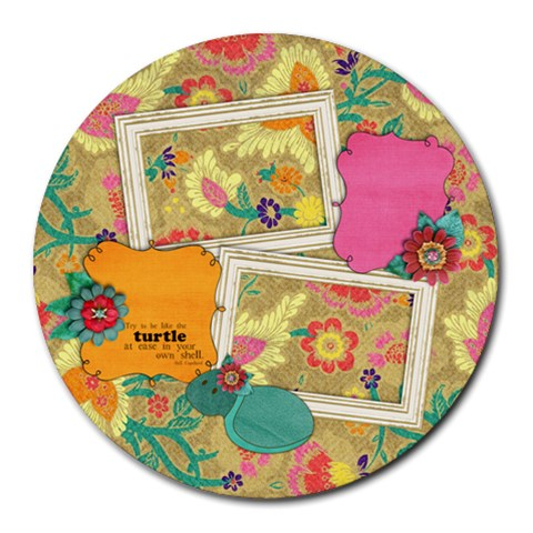 Turtle/floral  Round Mousepad By Mikki   Round Mousepad   Zcauaixed0m6   Www Artscow Com Front