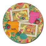 Turtle/Floral--round mousepad