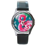 Flamingo Print Round Metal Watch