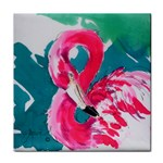 Flamingo Print Tile Coaster