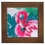 Flamingo Print Framed Tile