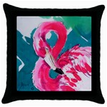 Flamingo Print Throw Pillow Case (Black)
