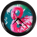 Flamingo Print Wall Clock (Black)