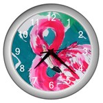 Flamingo Print Wall Clock (Silver)