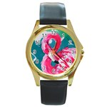Flamingo Print Round Gold Metal Watch