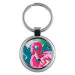 Flamingo Print Key Chain (Round)