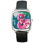 Flamingo Print Square Metal Watch