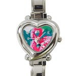 Flamingo Print Heart Italian Charm Watch