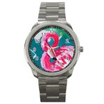 Flamingo Print Sport Metal Watch