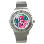 Flamingo Print Stainless Steel Watch