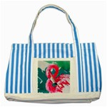 Flamingo Print Striped Blue Tote Bag