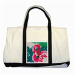 Flamingo Print Two Tone Tote Bag