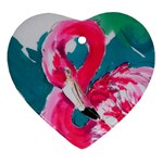 Flamingo Print Heart Ornament (Two Sides)