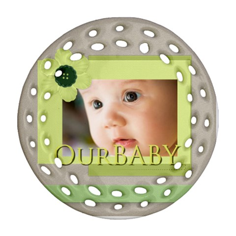 Baby By Joely   Ornament (round Filigree)   Bqj1lt7hs30f   Www Artscow Com Front