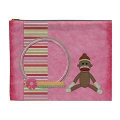 Sock Monkey Love Xl Cosmetic Bag 1 By Lisa Minor   Cosmetic Bag (xl)   Eh88jml4m71q   Www Artscow Com Front