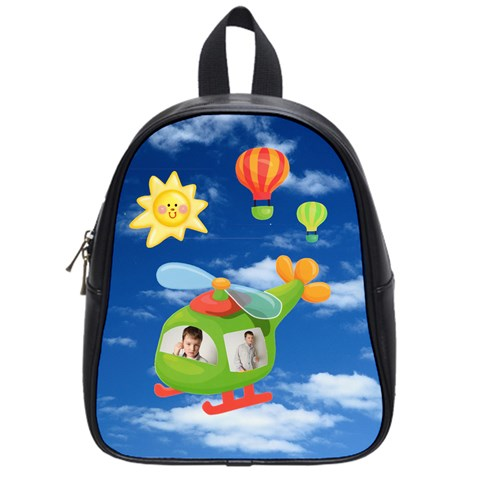Helicopter Pilot Small Schoolbag Backpack For Dianne By Catvinnat   School Bag (small)   8bhu9euqjknk   Www Artscow Com Front