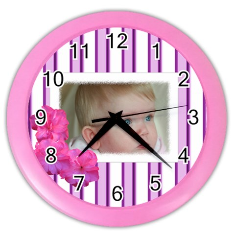 Pink Stripe Clock By Deborah   Color Wall Clock   7s23qhcwx026   Www Artscow Com Front