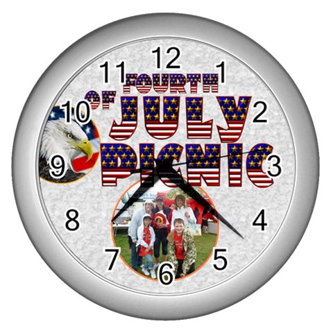 4th Of July Picnic Clock Silver By Catvinnat   Wall Clock (silver)   Jdbtwobudk0b   Www Artscow Com Front