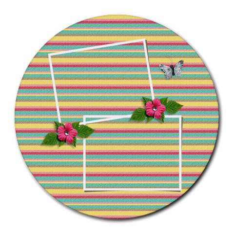 Round Mousepad  Stripes By Jennyl   Round Mousepad   6iu239uuwfgv   Www Artscow Com Front