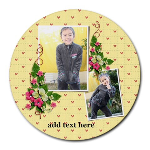Round Mousepad  Flowers And Hearts By Jennyl   Round Mousepad   Rx8ajnhbxc06   Www Artscow Com Front