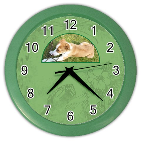 Rusty Puppy Half Moon Clock By Catvinnat   Color Wall Clock   W6j075f6lb7e   Www Artscow Com Front