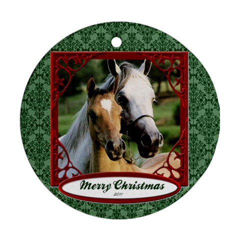 Xmas Horse By Kamryn   Ornament (round)   W8c0zr4f9evt   Www Artscow Com Front