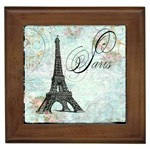 Eiffel Tower Pink Roses Pillow Square Copy Cc Framed Tile