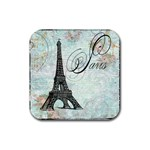 Eiffel Tower Pink Roses Pillow Square Copy Cc Rubber Square Coaster (4 pack)