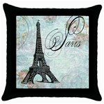 Eiffel Tower Pink Roses Pillow Square Copy Cc Throw Pillow Case (Black)