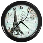 Eiffel Tower Pink Roses Pillow Square Copy Cc Wall Clock (Black)