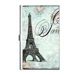 Eiffel Tower Pink Roses Pillow Square Copy Cc Business Card Holder