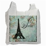 Eiffel Tower Pink Roses Pillow Square Copy Cc Recycle Bag (Two Side)